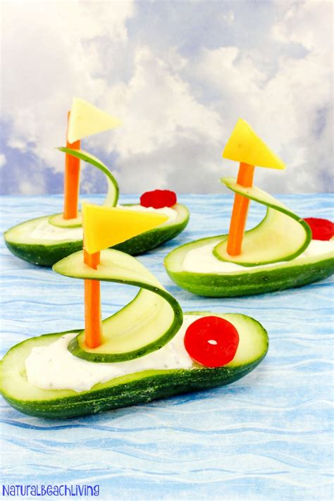 love boat theme party food cucumber boat shaped snack for kids natural beach living