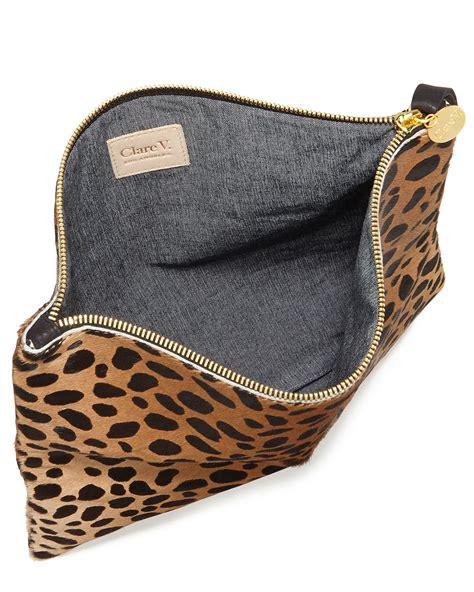 Up Of Designer Animal Print Clutch by Clare V Leopard Print Fold Clutch Bag Lyst
