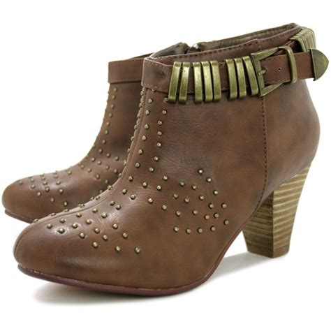 buy briley heeled studded buckle western ankle boots