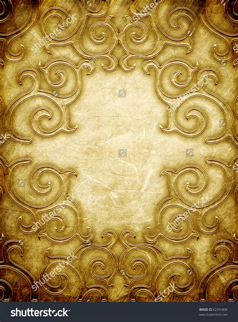 gold pattern metal gold metal pattern on paper backgrond vintage collection