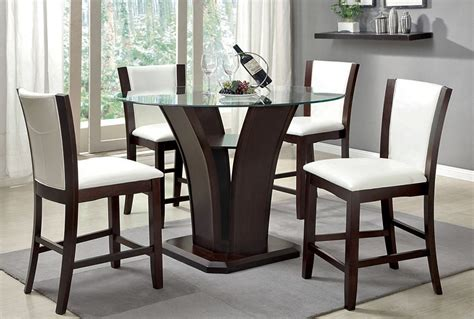Pub Dining Tables Manhattan White 5 Pub Dining Table Set Andrew S Furniture And Mattress