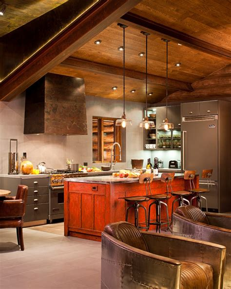 funky cabin kitchen industrial kitchen denver by