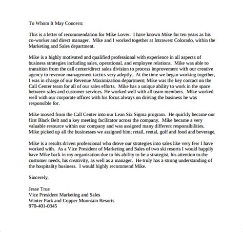 personal letter of recommendation template sle personal letter of recommendation 21