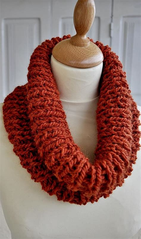 one skein knitting patterns knitted orange ribbed cowl one skein pattern