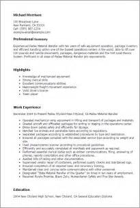 Resume With Equipments Handled Professional Fedex Material Handler Templates To Showcase