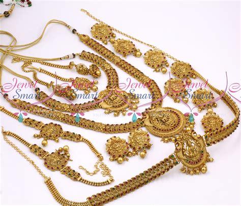 Set Bridal India Kalung India Premium Aamh021 br10358 antique bridal matte temple nakshi south indian gold finish wedding dulhan jewellery