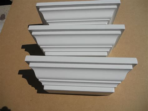 white wall shelves crown molding wood white wall shelf set of three shelves ebay