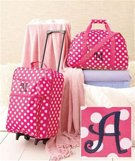 Set My Trip Polkadot 3 pc monogram pink polka dot design travel suitcase luggage set 11 letters