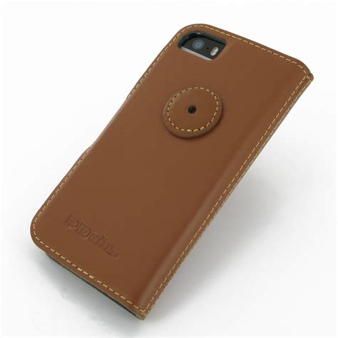 Kerropi Iphone 5 5s Custom Flip Cover iphone 5 5s leather flip cover brown pdair sleeve pouch