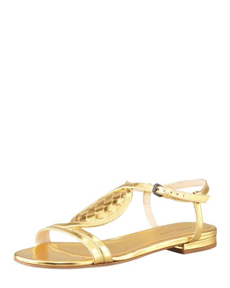 golden sandals bottega veneta womens gold metallic woven leather flat