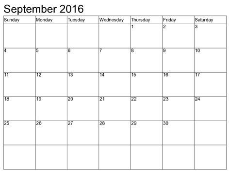 A4 Kalender 2016 September 2017 Printable Calendar Blank Templates