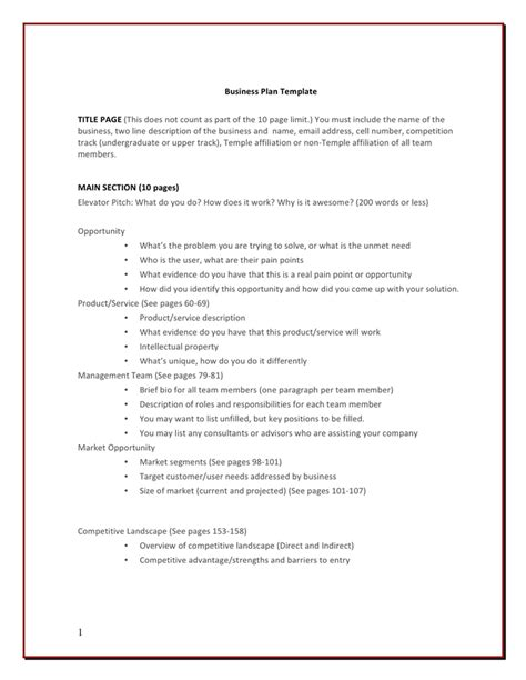 unique basic business plan template template everywhere template