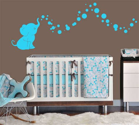 Wall Sticker Baby Shower elephant bubbles nursery wall decal set great shower gift nursery room decor light blue