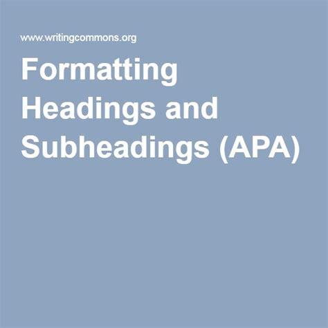 formatting headings and subheadings apa nursing