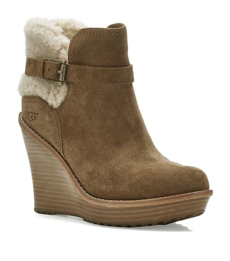 ugg anais wedge boot in beige lyst
