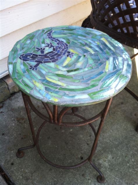 Craft Table Mosaic Gecko Table Made With Stained Glass Mosaic Table