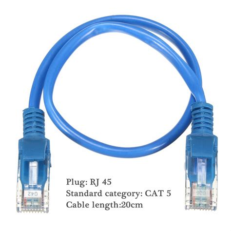 Conector Cat 5 Original 20cm blue rj45 cat5 gold plated networking lan ethernet patch cable sale banggood