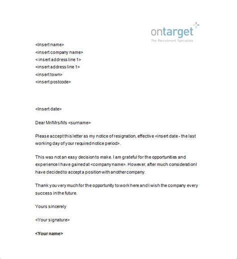 Formal Letter In Exle Resignation Notice Template 12 Free Word Excel Pdf