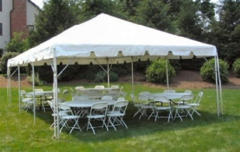 20x30 tent 6 tables white plastic folding chairs package
