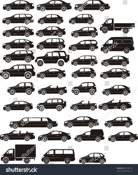 all types of nissan cars set silhouette different types cars stock vector 47238172