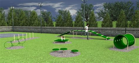 agility course pet w washing station park equipment