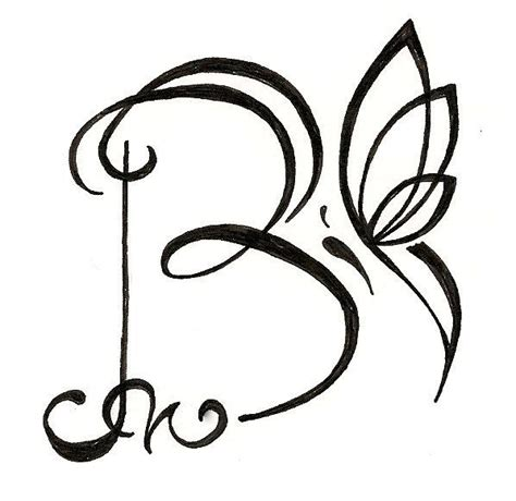 Drawing B Letter by Original Personalized Letter Drawing With Butterfly Www