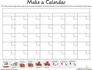 printable kindergarten calendar worksheets make a calendar worksheet education com