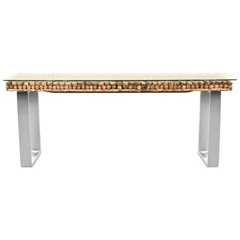 Driftwood Console Table Bradford Rustic Lodge Driftwood Glass Steel Base Console Table Kathy Kuo Home