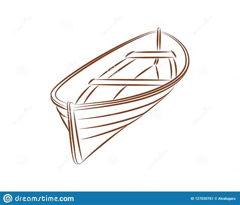 wood boat drawing wood boat vector line stock vector illustration of