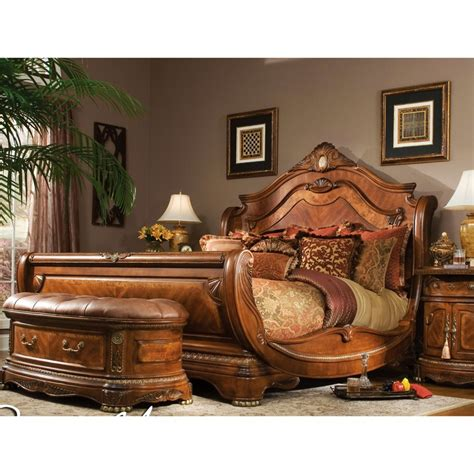 Aico Michael Amini 4pc Cortina Queen Size Sleigh Bedroom Slay Bed Set