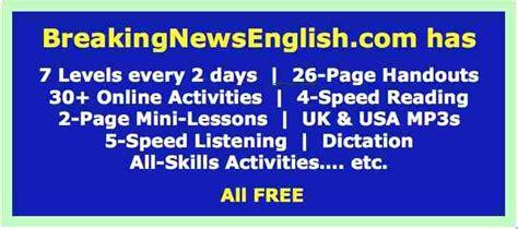 breaking news english english news readings level 5 breaking news english lessons easy english news materials