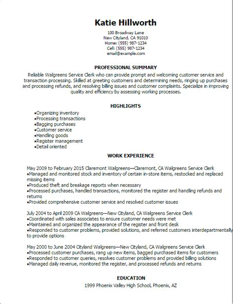 Customer Service Clerk Cover Letter by Walgreens Service Clerk Resume Template Best Design Tips Myperfectresume