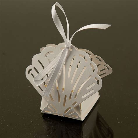 Wedding Favour Decorations by White Sea Shell Laser Cut Paper Favor Box