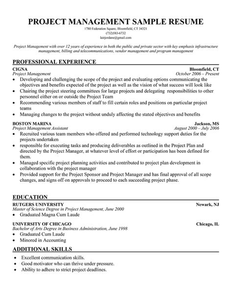 project management resume exles sle resume project manager sle resume