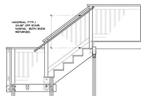 banister railing code outside deck stair handrails to latest code general
