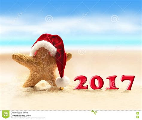 starfish in santa hat and happy new 2017 year stock image