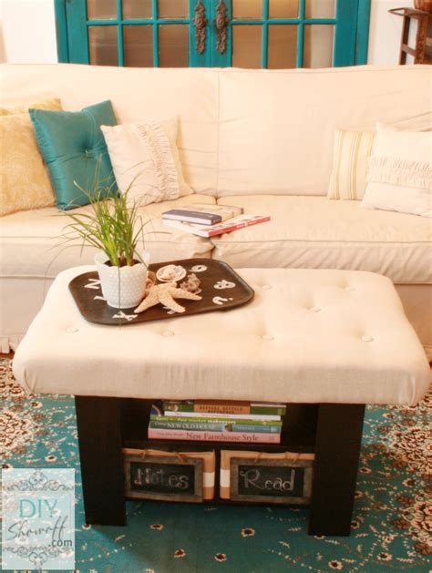 how to cover a storage ottoman with fabric simple diy ottoman coffe table with white fabric cover and