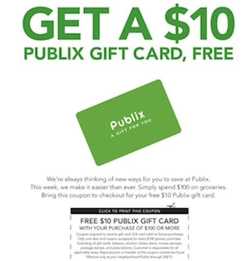 Publix Gift Card Discount - reminder 10 publix gift card when you spend 100 available in ad