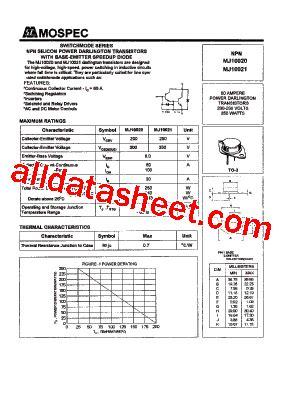 transistor mj15023 datasheet mj10020 datasheet pdf mospec semiconductor