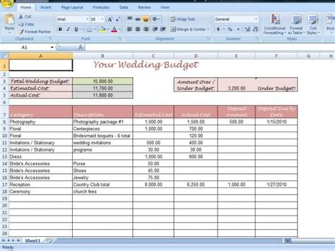 wedding spreadsheet templates wedding budget spreadsheet template driverlayer search