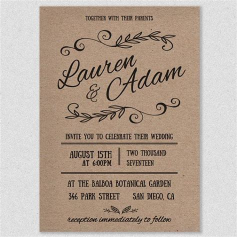 rustic wedding invitations templates best 25 wedding invitation templates ideas on