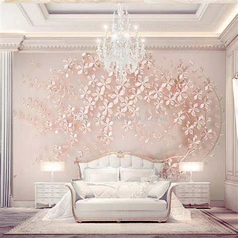custom  wallpaper luxury wall mural rose gold flower