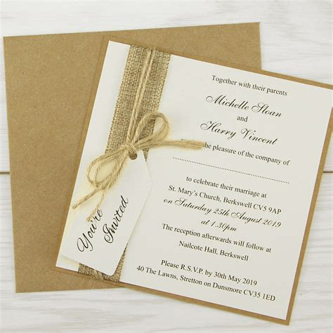rustic burlap layered square with tag wedding invitation invitation wedding invites