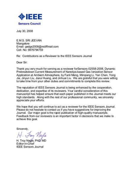 Appeal Letter To Journal Editor Jeevan 1 Ieee Reviewer Letter Awarded Sensor Journal Editor