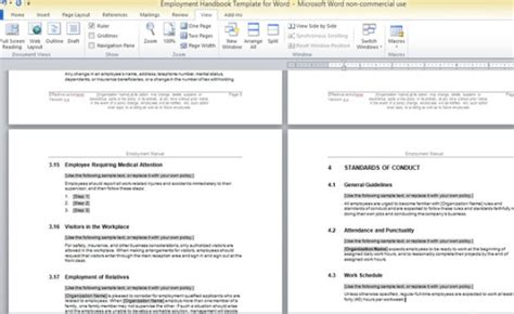 handbook template free employment handbook template for word