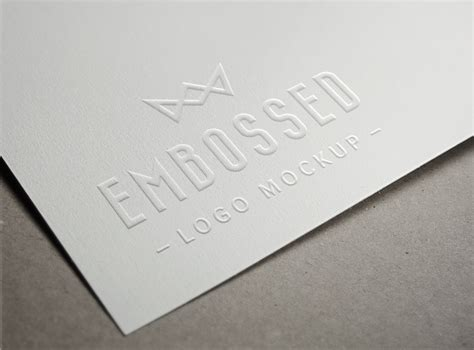 business card template embossed embossed paper logo mockup graphicburger
