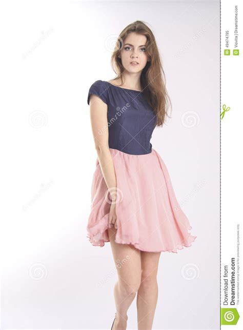 young girl skirt young beautiful model with blowing pink skirt stock image