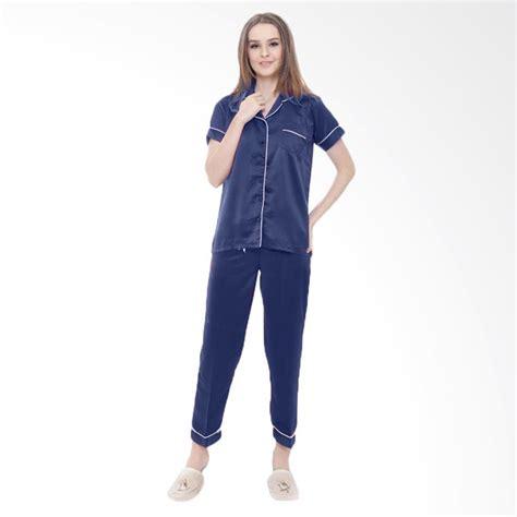 Setelan Baju Wanita Navy jual jcfashion celana panjang satin setelan baju tidur