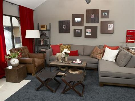 grey and red living room dgmagnets com contemporary living rooms from emily henderson on hgtv