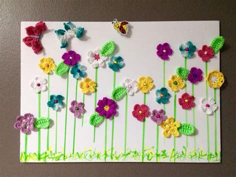 crochet decoracion cuadro decorado con flores a crochet pano